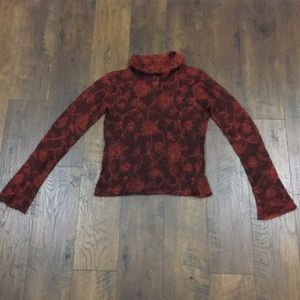 Free People floral Mohair blend turtleneck sweater